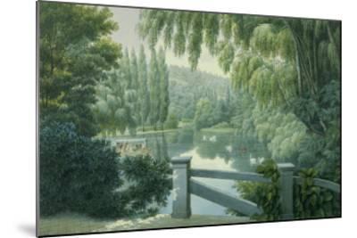 Vue de Malmaison : promenade des dames d'honneur sur la rivière.-Auguste Garneray-Mounted Giclee Print
