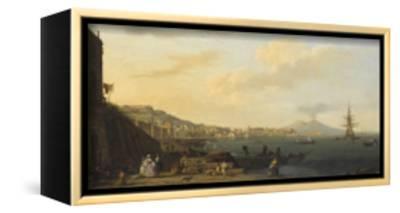 Vue de Naples avec le Vésuve-Claude Joseph Vernet-Framed Stretched Canvas Print