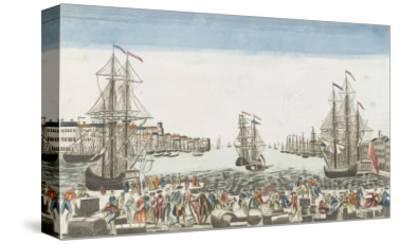 Vue du port de Rochefort--Stretched Canvas Print