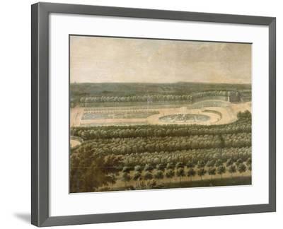 Vue de l'Orangerie, des parterres et du château de Versailles prises des hauteurs de Satory-Etienne Allegrain-Framed Giclee Print