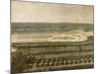 Vue de l'Orangerie, des parterres et du château de Versailles prises des hauteurs de Satory-Etienne Allegrain-Mounted Giclee Print