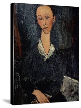 Femme au col blanc-Amedeo Modigliani-Stretched Canvas Print