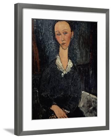 Femme au col blanc-Amedeo Modigliani-Framed Giclee Print