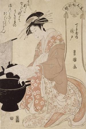 Jeune femme-Utagawa Toyokuni-Stretched Canvas Print
