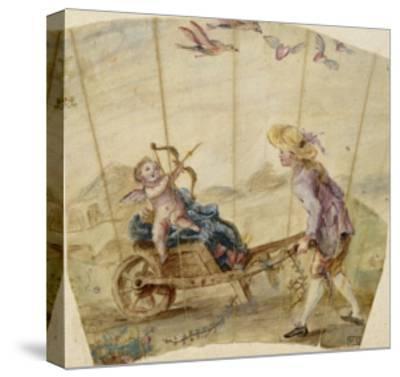 Album factice :Fragment d'éventail: jeune homme poussant une brouette où est assis un amour--Stretched Canvas Print