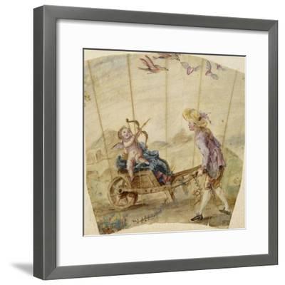 Album factice :Fragment d'éventail: jeune homme poussant une brouette où est assis un amour--Framed Giclee Print