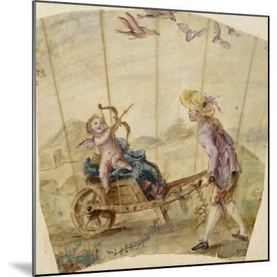 Album factice :Fragment d'éventail: jeune homme poussant une brouette où est assis un amour--Mounted Giclee Print