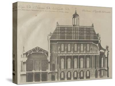 """Recueil des """"Plans, Profils et Elévations du Château de Versailles..."""" : planche 9 : coupe-Pierre Lepautre-Stretched Canvas Print"""
