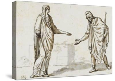 Album : une femme faisant l'aumône à un homme ; deux femmes devisant ; une femme assise-Jacques-Louis David-Stretched Canvas Print