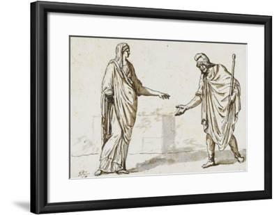 Album : une femme faisant l'aumône à un homme ; deux femmes devisant ; une femme assise-Jacques-Louis David-Framed Giclee Print