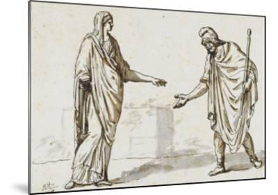 Album : une femme faisant l'aumône à un homme ; deux femmes devisant ; une femme assise-Jacques-Louis David-Mounted Giclee Print