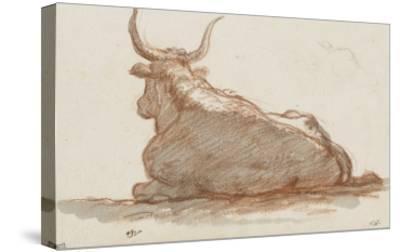 Album : un boeuf (?) couché et esquisse d'une tête de cheval-Jacques-Louis David-Stretched Canvas Print