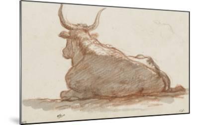 Album : un boeuf (?) couché et esquisse d'une tête de cheval-Jacques-Louis David-Mounted Giclee Print