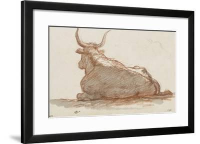 Album : un boeuf (?) couché et esquisse d'une tête de cheval-Jacques-Louis David-Framed Giclee Print