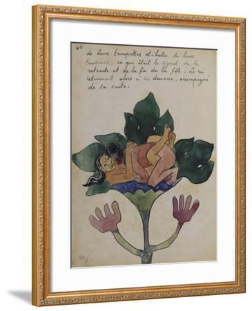 Album Ancien culte Mahori :  Un accouplement et feuille vierge avec dessin rapporté-Paul Gauguin-Framed Giclee Print