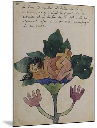 Album Ancien culte Mahori :  Un accouplement et feuille vierge avec dessin rapporté-Paul Gauguin-Mounted Giclee Print
