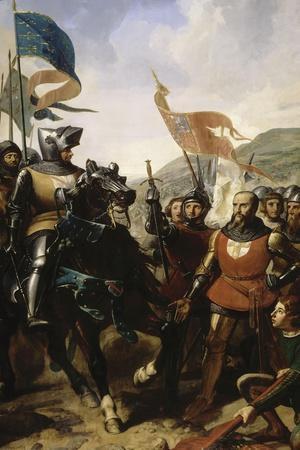 Bataille de Cocherel, prés d'Evreux gagnée par Du Guesclin sur les troupes du roi de Navarre, le-Charles Philippe Larivière-Stretched Canvas Print