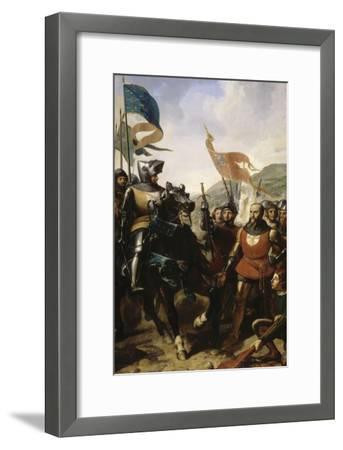 Bataille de Cocherel, prés d'Evreux gagnée par Du Guesclin sur les troupes du roi de Navarre, le-Charles Philippe Larivière-Framed Giclee Print