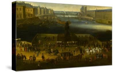 Vue perspective No.2 de la Seine de Paris sur le palais du Louvre, depuis le Pont Neuf vers 1666--Stretched Canvas Print
