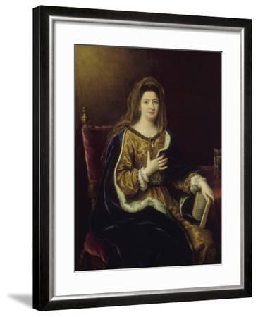Françoise d'Aubigné, marquise de Maintenon, représentée en Sainte Françoise Romaine vers 1694-Pierre Mignard-Framed Giclee Print
