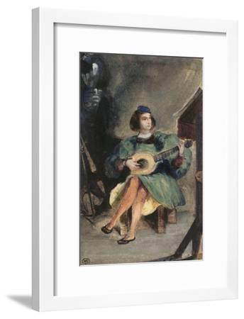 Jeune guitariste en costume italien de la Renaissance-Eugene Delacroix-Framed Giclee Print