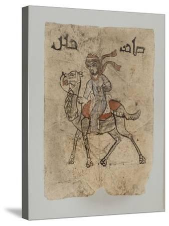 """Homme sur son chameau, au dessus du dessin, inscription en Kûfique ornemental : """"Maître d'une--Stretched Canvas Print"""