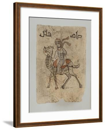 """Homme sur son chameau, au dessus du dessin, inscription en Kûfique ornemental : """"Maître d'une--Framed Giclee Print"""