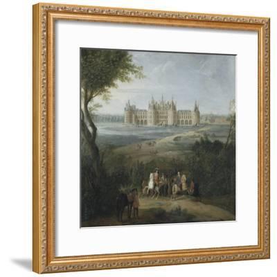 Vue du château de Chambord vers 1722 - au premier plan, le duc d'Orléans, Régent, donnant ses-Pierre Denis Martin-Framed Giclee Print