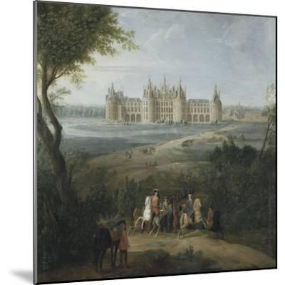 Vue du château de Chambord vers 1722 - au premier plan, le duc d'Orléans, Régent, donnant ses-Pierre Denis Martin-Mounted Giclee Print