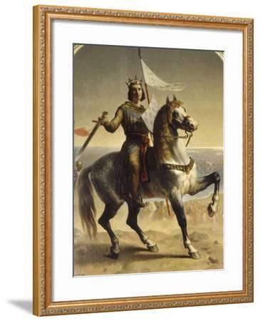 Saint Louis (Louis IX), roi de France en 1226 (1214-1270), portrait équestre lors de son-Emile Signol-Framed Giclee Print