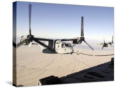 A Mv-22 Osprey Refuels Midflight While Another Waits its Turn--Stretched Canvas Print