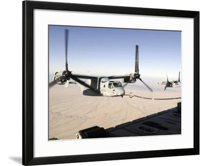 A Mv-22 Osprey Refuels Midflight While Another Waits its Turn--Framed Photographic Print