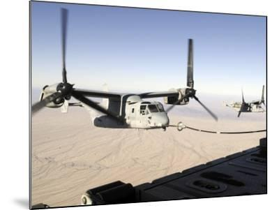 A Mv-22 Osprey Refuels Midflight While Another Waits its Turn--Mounted Photographic Print