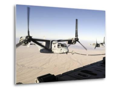 A Mv-22 Osprey Refuels Midflight While Another Waits its Turn--Metal Print