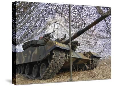 Mock Aggressors from Republic of Korea Marine Corps Prepare their Tank--Stretched Canvas Print