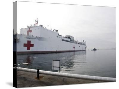 The Military Sealift Command Hospital Ship Usns Comfort Pulls Away from Canton Pier--Stretched Canvas Print