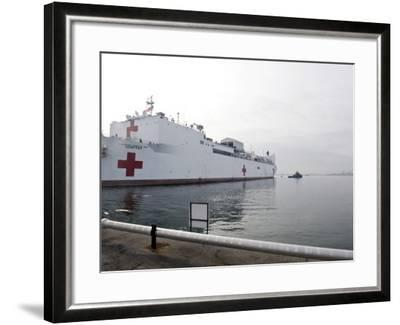 The Military Sealift Command Hospital Ship Usns Comfort Pulls Away from Canton Pier--Framed Photographic Print