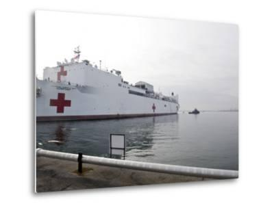 The Military Sealift Command Hospital Ship Usns Comfort Pulls Away from Canton Pier--Metal Print