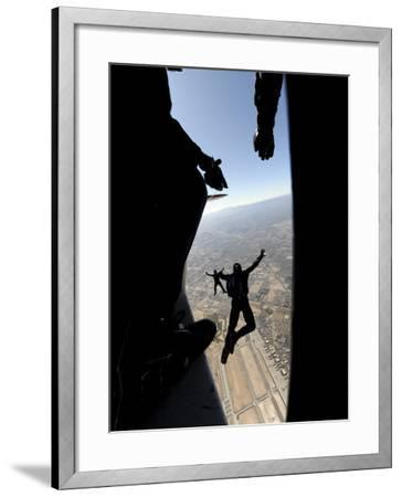 US Air Force Academy Parachute Team Jumps Out of an Aircraft over Nellis Air Force Base, Nevada--Framed Photographic Print