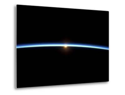 The Thin Line of Earth's Atmosphere and the Setting Sun--Metal Print