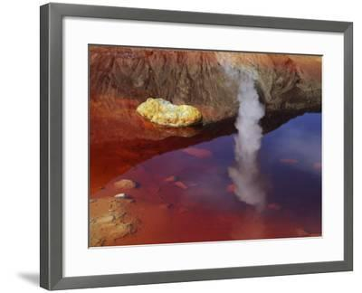 Papandayan Acid Lake with Fumarole Reflection, Java Island, Indonesia--Framed Photographic Print