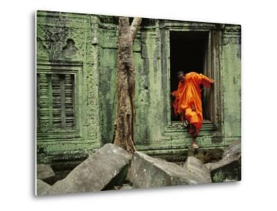 A Monk Emerges from the Doorway of an Angkor Wat Temple-Steve Raymer-Metal Print