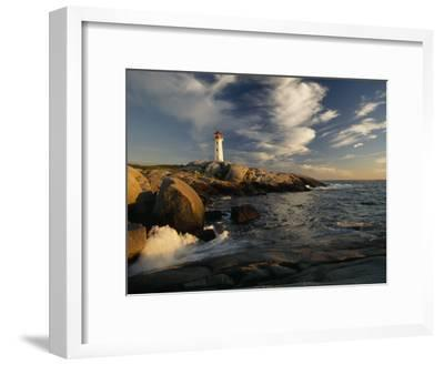 Surf Pounds the Shore Near Peggy's Point Lighthouse-James P^ Blair-Framed Photographic Print