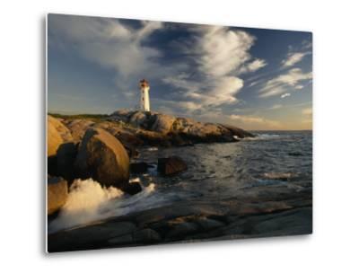 Surf Pounds the Shore Near Peggy's Point Lighthouse-James P^ Blair-Metal Print