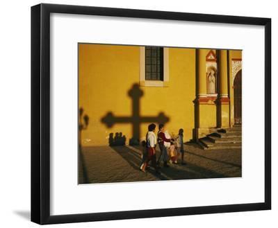 A Family Comes to Worship at the San Cristobal Church-Tomasz Tomaszewski-Framed Photographic Print