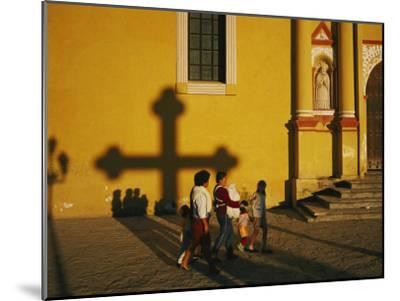 A Family Comes to Worship at the San Cristobal Church-Tomasz Tomaszewski-Mounted Photographic Print