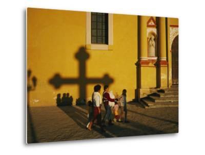 A Family Comes to Worship at the San Cristobal Church-Tomasz Tomaszewski-Metal Print