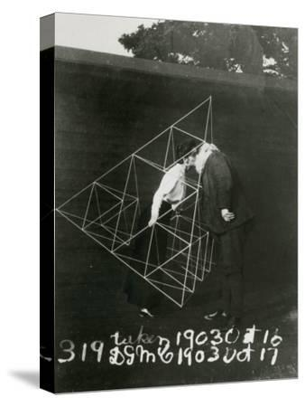 Alexander Graham Bell and Mabel Kissing Within a Tetrahedral Kite- U.S. Gov'T Library Of Congress-Stretched Canvas Print