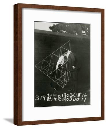 Alexander Graham Bell and Mabel Kissing Within a Tetrahedral Kite- U.S. Gov'T Library Of Congress-Framed Photographic Print