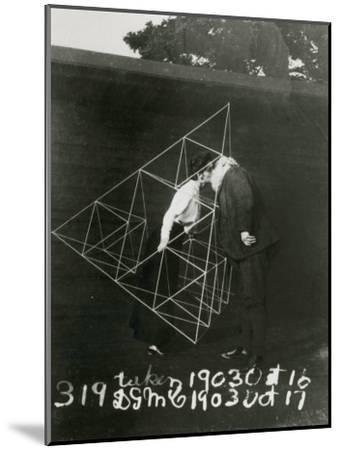 Alexander Graham Bell and Mabel Kissing Within a Tetrahedral Kite- U.S. Gov'T Library Of Congress-Mounted Photographic Print